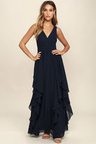 LuLu*s Simply Sweet Navy Blue Maxi Dress