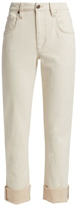 Brunello Cucinelli High-Rise Garment-Dyed Cuff Straight-Leg Jeans