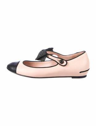 Chanel Leather Bow Accents Mary Jane Flats Pink