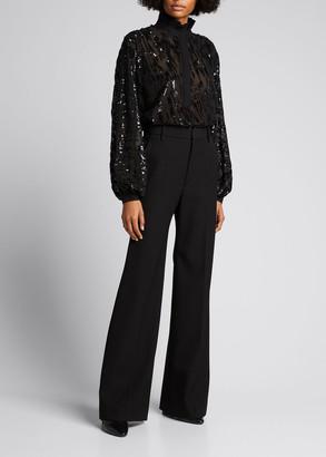 retrofete Zoe Sequined Silk Long-Sleeve Blouse