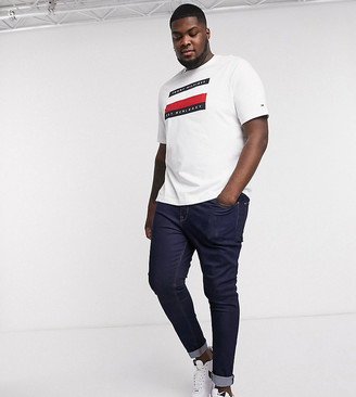 Tommy Hilfiger Big & Tall corp stripe box print t-shirt in white