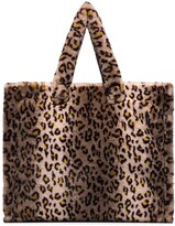 Stand Studio leopard-print faux fur tote bag