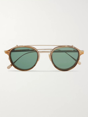 Mr. Leight Mulholland Round-Frame 12-Karat White Gold And Acetate Glasses With Clip-On Uv Lenses