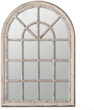 OKA Heligan Arched Window Wall Mirror - Distressed White