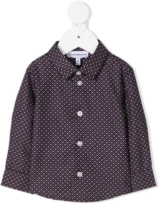Emporio Armani Kids Logo Print Button-Down Shirt