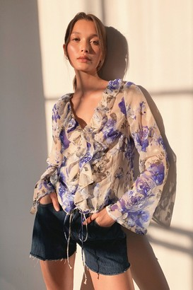 Nasty Gal Womens Look Bouquet Floral Ruffle Blouse - Blue