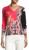 Etro Floral V-Neck Sweater, Red