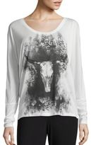 Haute Hippie Long Sleeve Graphic Printed Tee