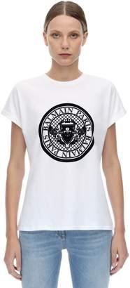 Balmain Flocked Coin Logo Cotton Jersey T-shirt