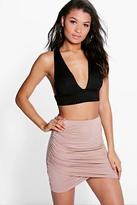 Boohoo Amy Rouched Wrap Mini Skirt