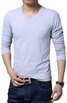 Meiruian Men's Cotton Stretch V-Neck T-shirts Long Sleeve Base Tops Slim Fit
