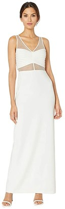 Adrianna Papell Illusion Crepe Column Gown (Ivory) Women's Dress