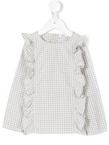 Knot ruffled grid blouse