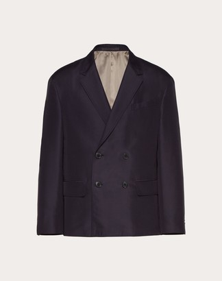 Valentino Double-breasted Jacket Man Blue Cotton 85%, Silk 15% 44
