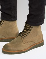 Asos Boots With Cork Sole In Stone Suede