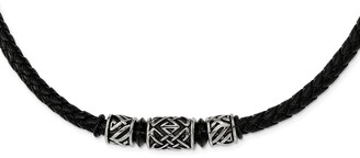 Chisel Stainless Steel Antiqued and Black IP-plated Bead Braided Leather Necklace