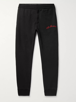 Alexander McQueen Tapered Logo-Embroidered Fleece-Back Cotton-Jersey Sweatpants