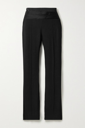Jason Wu Collection Satin-trimmed Crepe Tapered Pants - Black