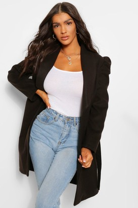 boohoo Puff Shoulder Wool Look Coat