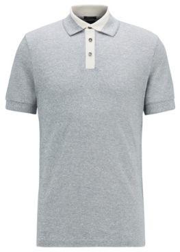 HUGO BOSS Moulin Polo Shirt In Cotton And Linen - Dark Blue