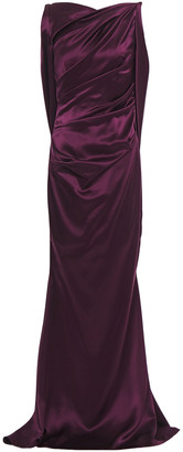Talbot Runhof Draped Ruched Satin Gown