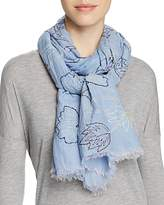 Altea Embroidered Leaves Scarf