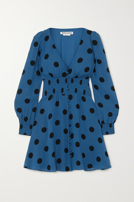 Reformation Alani Shirred Polka-dot Georgette Mini Dress - Blue