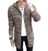 WSLCN Men's Long Knitted Cardigan Hooded