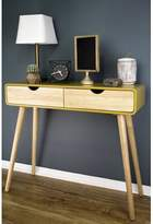 BEIGE Heng Euro Console Table George Oliver Table Top Color: Yellow, Table Base Color