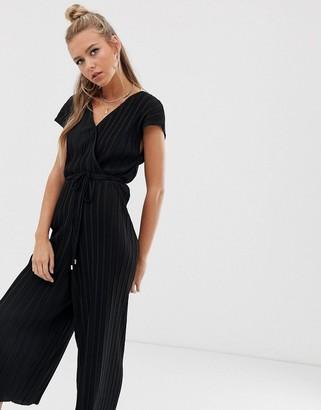 Bershka wrap plisse jumpsuit in black