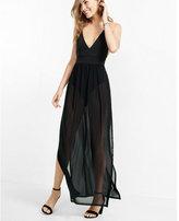 Express sheer black bodysuit maxi dress