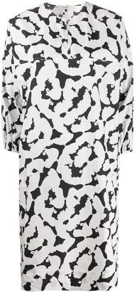 Odeeh cropped sleeve printed dress