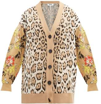 MSGM Leopard And Floral Intarsia Cardigan - Womens - Beige