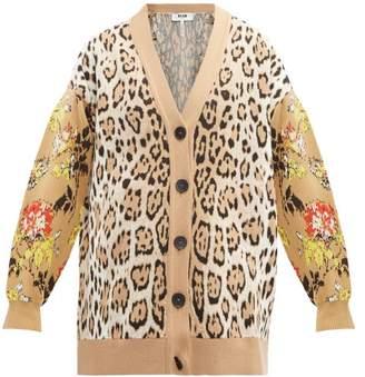 MSGM Leopard And Floral-intarsia Cardigan - Womens - Beige