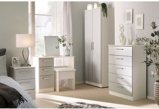 Swift Montreal Gloss Ready Assembled 4 Piece Package - 3 Door Mirrored Wardrobe, 5 Drawer Chest and 2 Bedside Chests