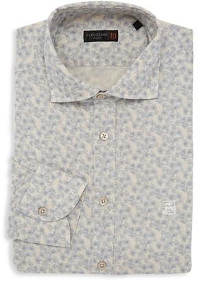 Corneliani Floral-Print Cotton-Linen Dress Shirt