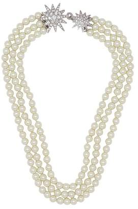 Kenneth Jay Lane Three Row Pearl Necklace With Starburst Clasp