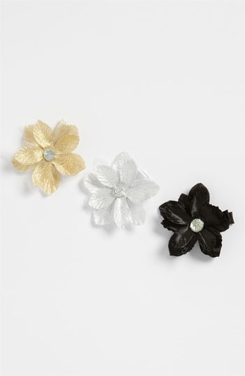 PLH Bows & Laces Metallic Flower Clips (Set of 3) (Baby Girls & Toddler Girls)