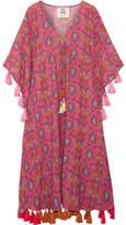 Figue Amrita Tasseled Printed Cotton-blend Gauze Kaftan - Pink