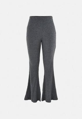 Missguided Gray Rib Flare Pants