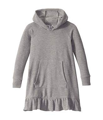 Chaser Cozy Knit Long Sleeve Hooded Ruffle Hem Dress (Toddler/Little Kids)