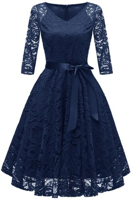 Nuur Women's Dress Party Lace Vintage Midi-Length Full Swing Skirt Navy Blue L