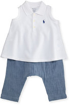 Ralph Lauren Sleeveless Polo Shirt w/ Chambray Pants, White, Size 6-24 Months