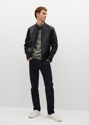 MANGO MAN - Faux-leather biker jacket dark navy - S - Men