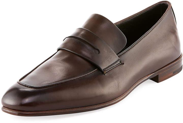 Ermenegildo Zegna Asola Napa Leather Penny Loafer, Brown