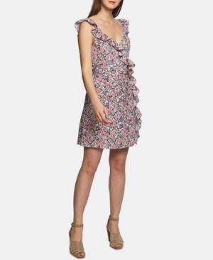 1 STATE Ruffled Floral-Print Mini Dress