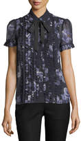 Kate Spade Night Rose Sheer Short-Sleeve Button-Front Top