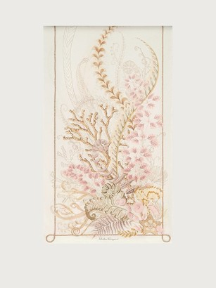 Salvatore Ferragamo Women Atlantis printed silk scarf Beige