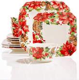 222 Fifth Winter Poinsettia 12-Pc. Dinnerware Set
