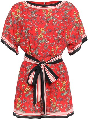Alice + Olivia Bowie Belted Printed Crepe De Chine Playsuit